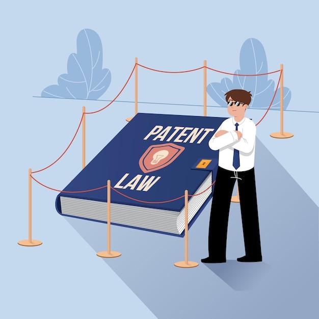 Иллюстрированная концепция патентного права Бесплатные векторы