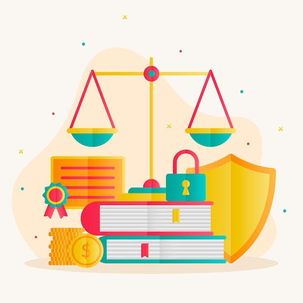 Patent law concept with balance scale Premium Vector