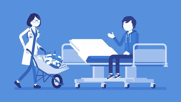 Пациент и врач больницы с тележкой, полной лекарств. человеку в клинике дали кучу лекарств для приема, слишком много прописанных таблеток. медицина и здравоохранение. иллюстрация с безликими персонажами Premium векторы