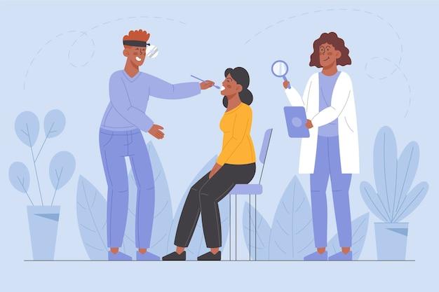 Paziente esaminato da un medico in un'illustrazione clinica Vettore gratuito