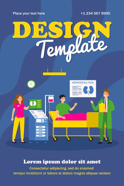 Patient getting kidney disease treatment or dialysis flat vector illustration. cartoon doctors doing hemodialysis in hospital for man Premium Vector