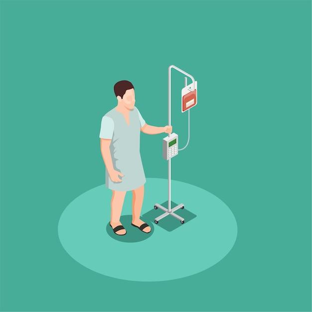 Пациент в больничной одежде с изометрической композицией капельницы Бесплатные векторы