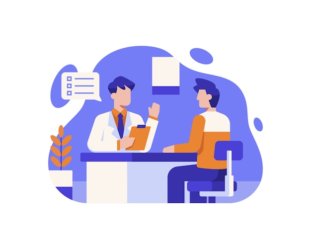A patient is consulting with a doctor at the hospital Premium Vector