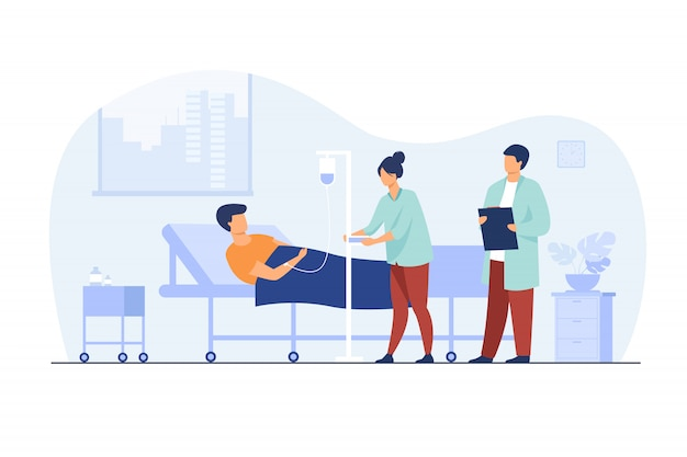 Patient lying in bed during intensive therapy Free Vector