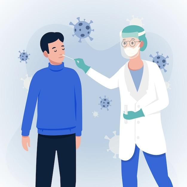 Пациент мужчина и врач делают мазок из носа Бесплатные векторы