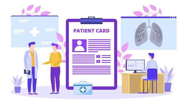 Пациент с медицинской карточкой разговаривает с доктором о иллюстрации рентгеновского снимка легких. Premium векторы