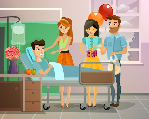 Patient with visitors illustration Free Vector