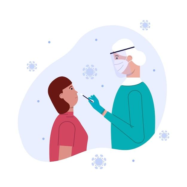 Пациентка, сдающая мазок на нос Бесплатные векторы