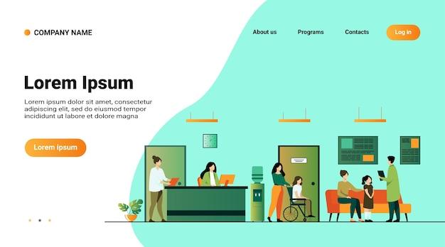 Встреча и ожидание пациентов и врачей в зале клиники. иллюстрация интерьера больницы с приемом, человек в инвалидной коляске Бесплатные векторы