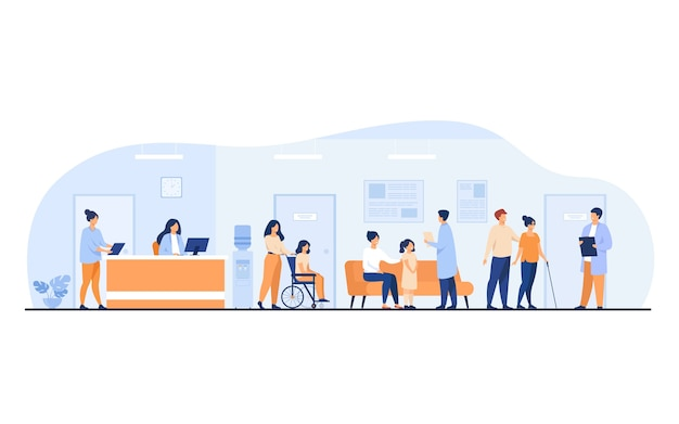 Patients and doctors meeting and waiting in clinic hall. hospital interior illustration with reception, person in wheelchair. for visiting doctor office, medical examination, consultation Free Vector