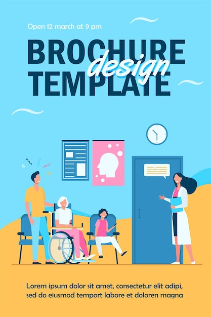 Patients in hospital waiting in line flyer template Free Vector