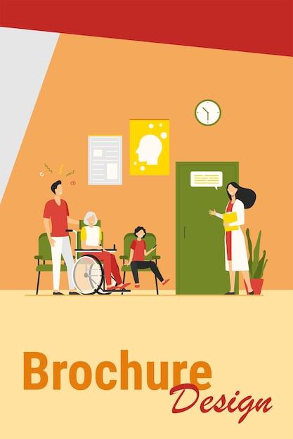 並んで待っている病院の患者フラットベクトルイラスト。廊下で看護師、医療従事者またはセラピストと話している漫画のキャラクター。ヘルスケア、健康と医学の概念 無料ベクター