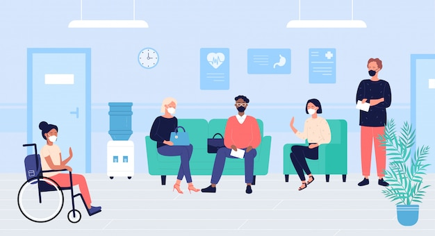 Люди пациентов в иллюстрации зала ожидания докторов. мультфильм плоская женщина мужчина символов в масках сидеть и ждать докторантуру в больничном зале интерьер. медицинское образование Premium векторы