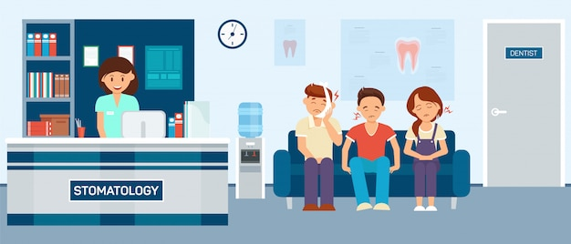 Patients with toothache sitting stomatology hall Premium Vector