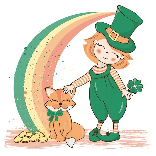 Patrick's rainbow saint patrick's day vector illustration Premium Vector