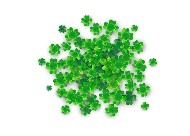 Patricks day background in round circle shape with green clovers Free Vector