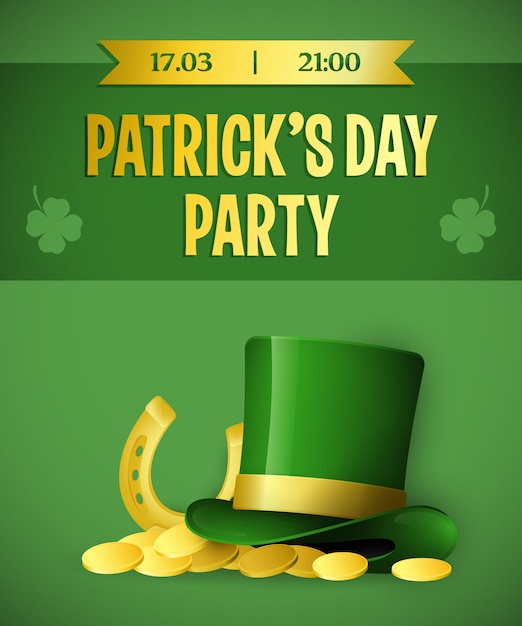 Patricks day party green banner design Free Vector