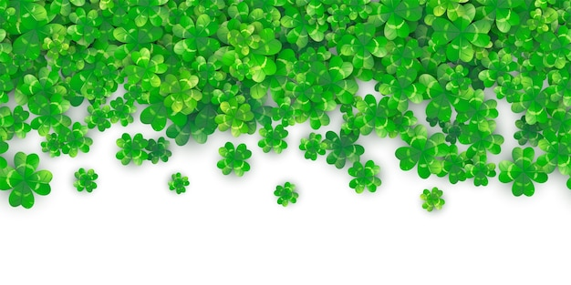 Patricks day seamless border background with green clover heap Free Vector