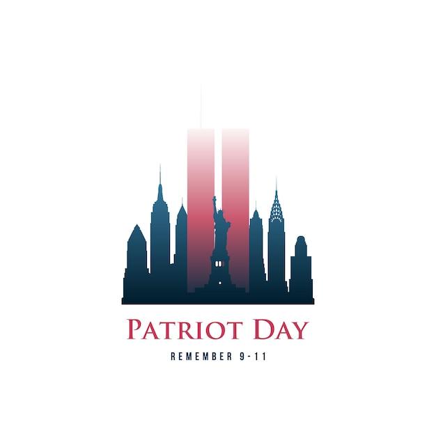 ツインタワーとフレーズ覚えている9-11の愛国者の日カード。 Premiumベクター
