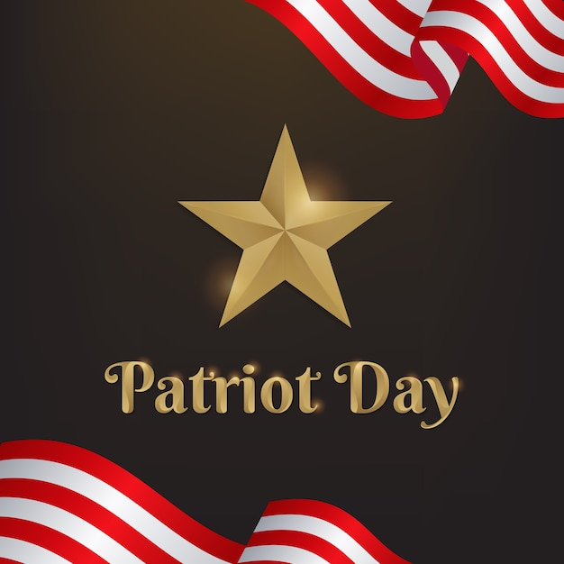 Patriot day with star gold and america flag Premium Vector