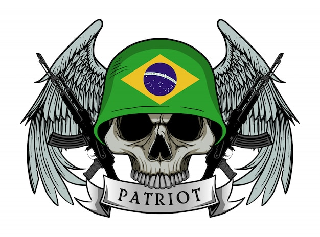Patriot skull with brazil flag helmet Premium Vector