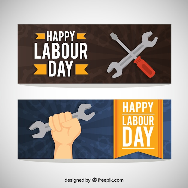 Patriotic labor day banners Free Vector