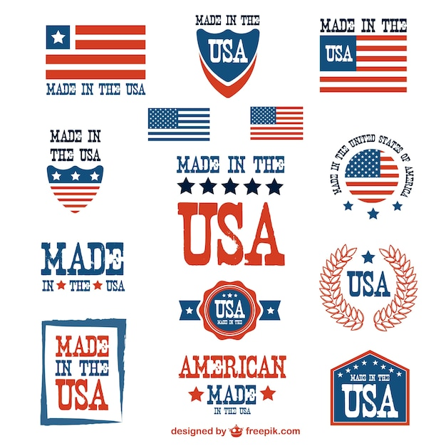 Patriotic made in usa labels Premium Vector
