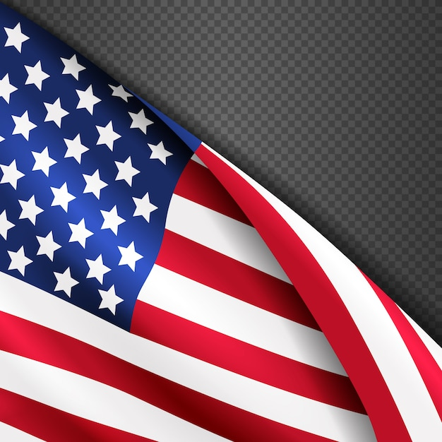 Patriotic vector background with american usa waving flag Premium Vector