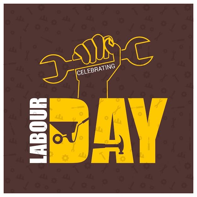 労働者の手と茶色のpatterened背景にレンチと幸せ労働日 無料ベクター