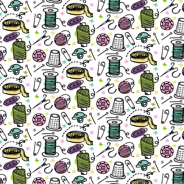 Pattern about sewing elements Free Vector