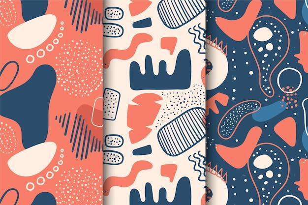 パターン抽象的な手描きコレクション 無料ベクター