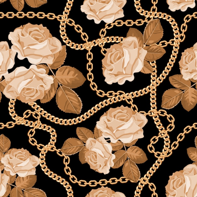 Pattern background with golden chains and beige roses Premium Vector