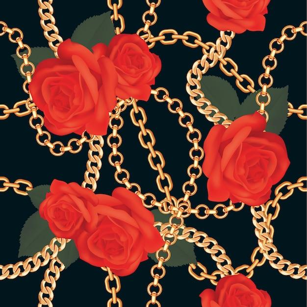Pattern background with golden chains Premium Vector
