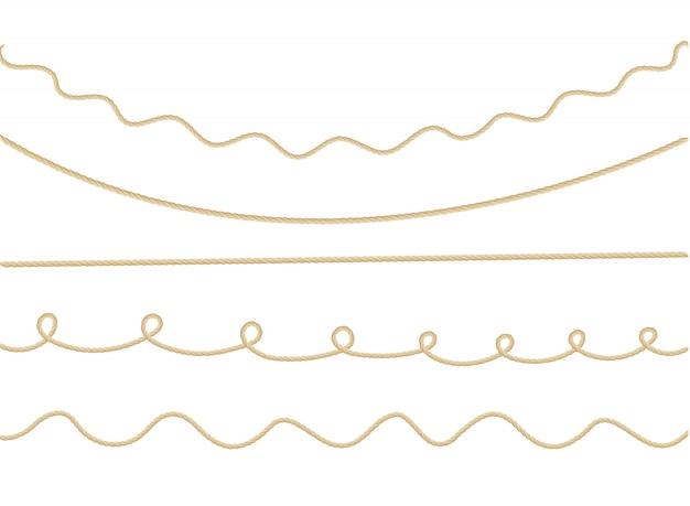 Pattern of background with marine rope knots in different directions. Premium Vector