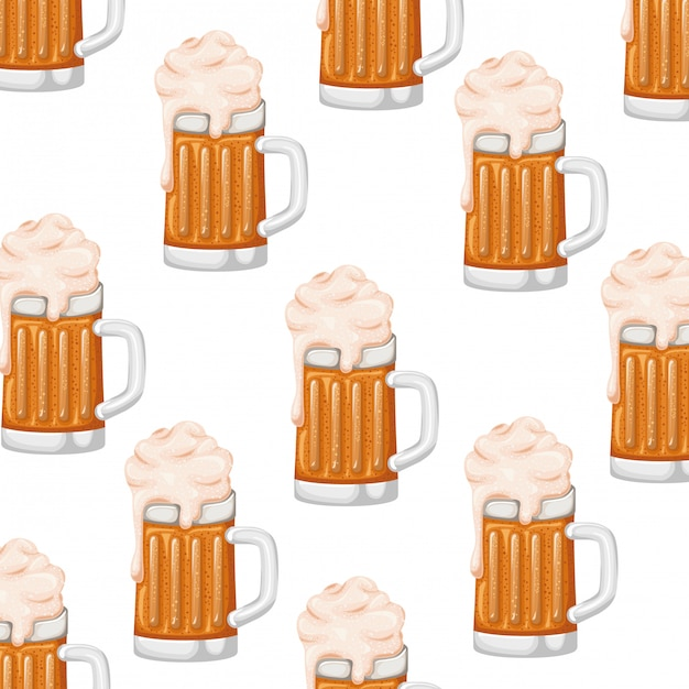 Pattern beer with foam isolated icon Premium Vector