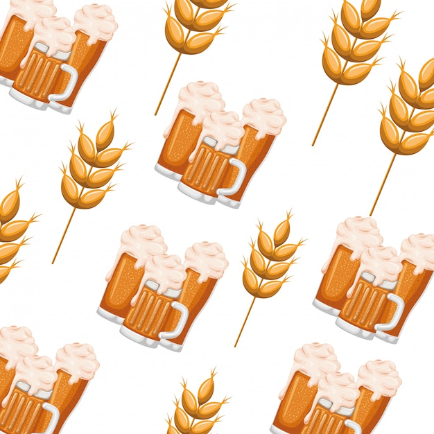 Pattern beer with foam and wheat icon Premium Vector