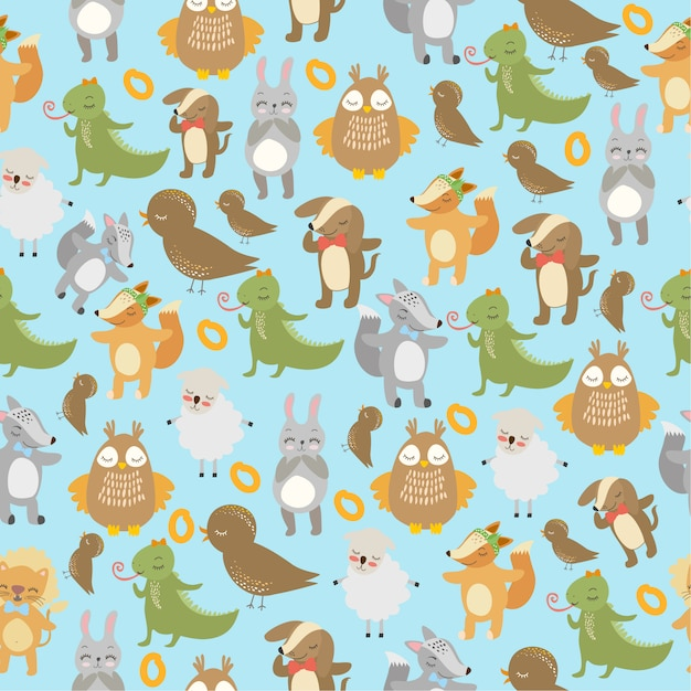 Pattern birds and animals Free Vector