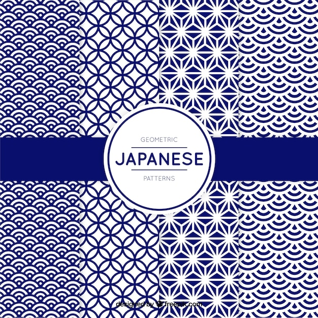 Pattern of blue geometric shapes in japanese style Vector