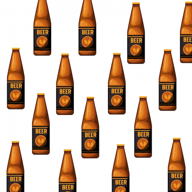 Pattern bottle of beer isolated icon Premium Vector