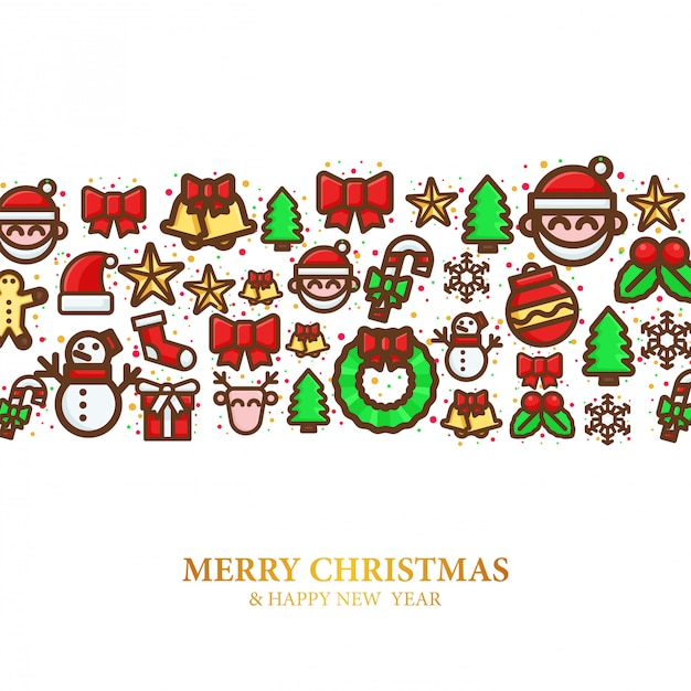 Pattern of christmas icon Premium Vector