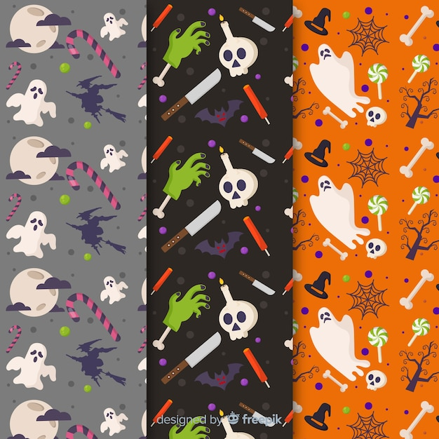 Pattern collection of flat halloween with ghosts Free Vector