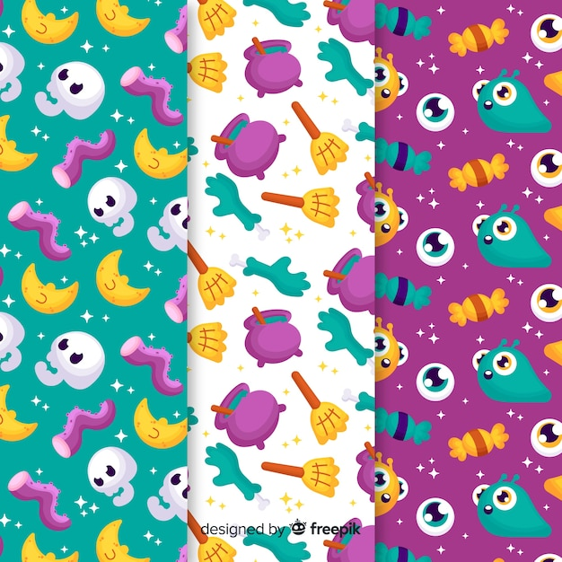 Pattern collection of flat halloween with spooky creatures Free Vector