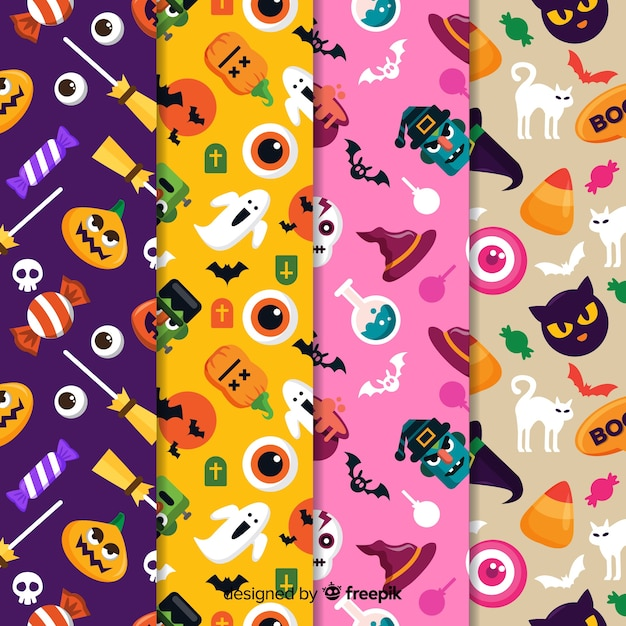 Pattern collection for a spooky halloween party Free Vector