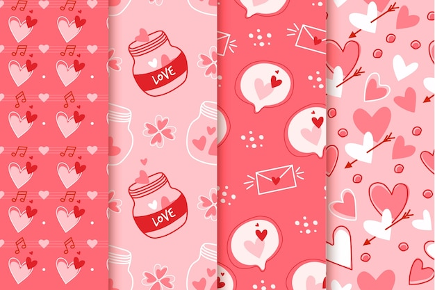 Pattern collection for valentines day Free Vector