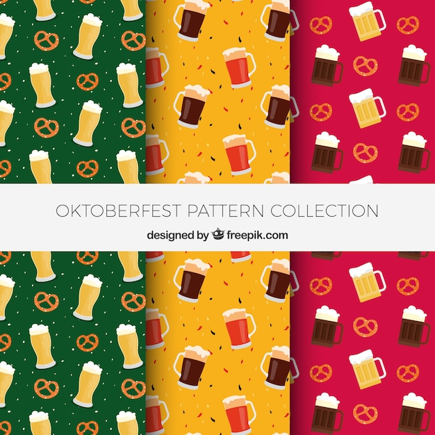Pattern collection with beers and pretzels