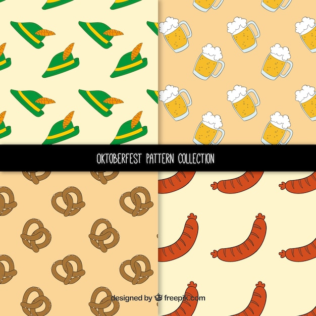 Pattern collection with pretzel, hat, sausage and beer