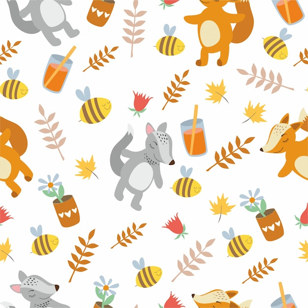 Pattern cute animals. the fox and the wolf. leaves, plants, bees. Free Vector