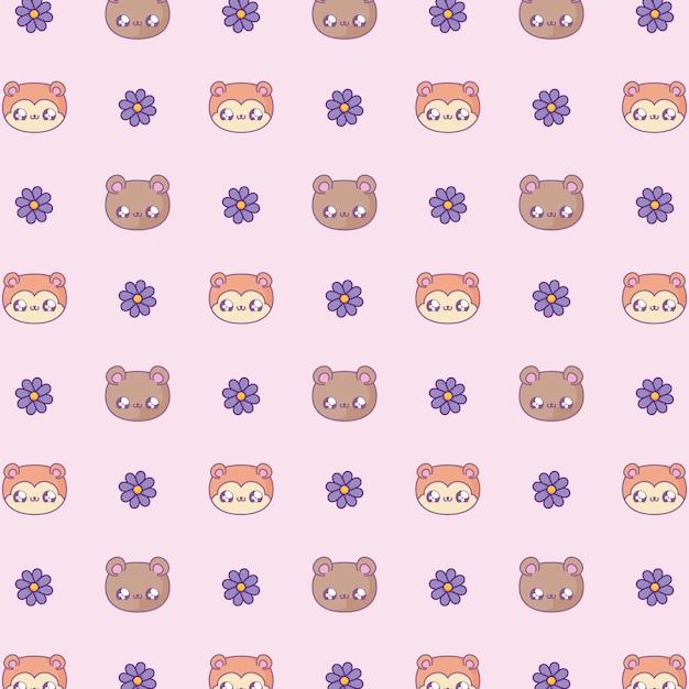Pattern cute heads of bear and fox baby kawaii style Premium Vector