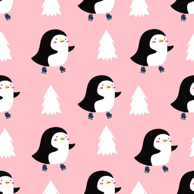 Pattern of cute penguin on skates Premium Vector