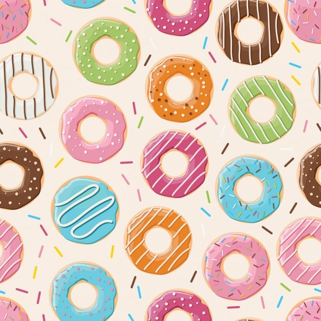 Pattern design of coloured donuts Free Vector